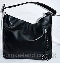 Женские повседневные сумки-торбочки на плечо из искусственной кожи 34*30 см (черная)