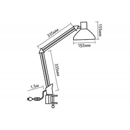 Настольная лампа на струбцине FERON DE1430 белая под лампу E27, фото 2