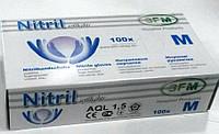 Перчатки нитриловые неопудренные нестерильные голубые SFM 100 шт (50 пар) размер M