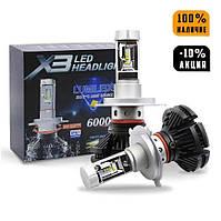 Светодиодные лампы X3 LED Headlight H7 (6000 Лм / 50 Вт), комплект автомобильных светодиодных ламп