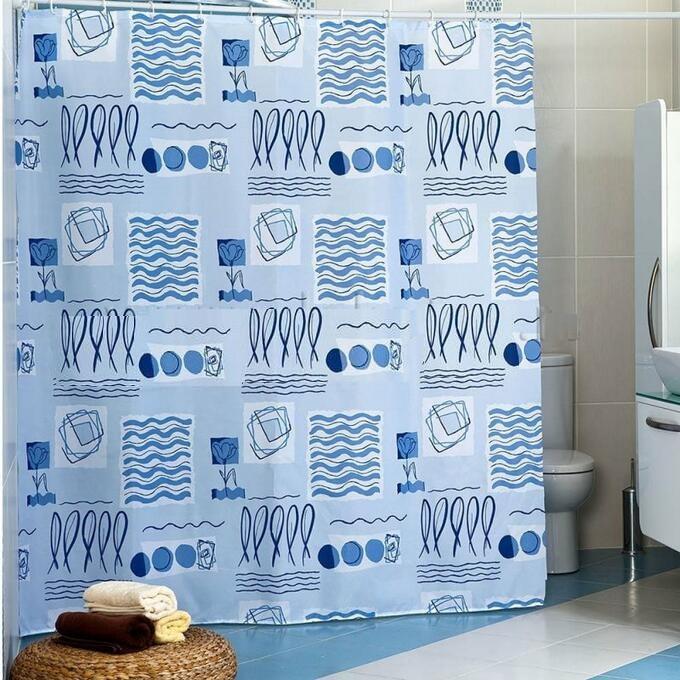 Шторка для ванной POSE BUD голубой