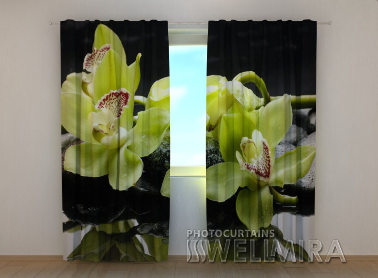 """Фото штори """"Лимонні орхідеї"""" 250 х 260 см"""