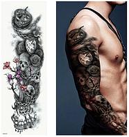 Флеш тату. Временная татуировка. Черепа, Розы, Дерево, Часы. На руку/ногу/бедро, 48*17 см, tqb07