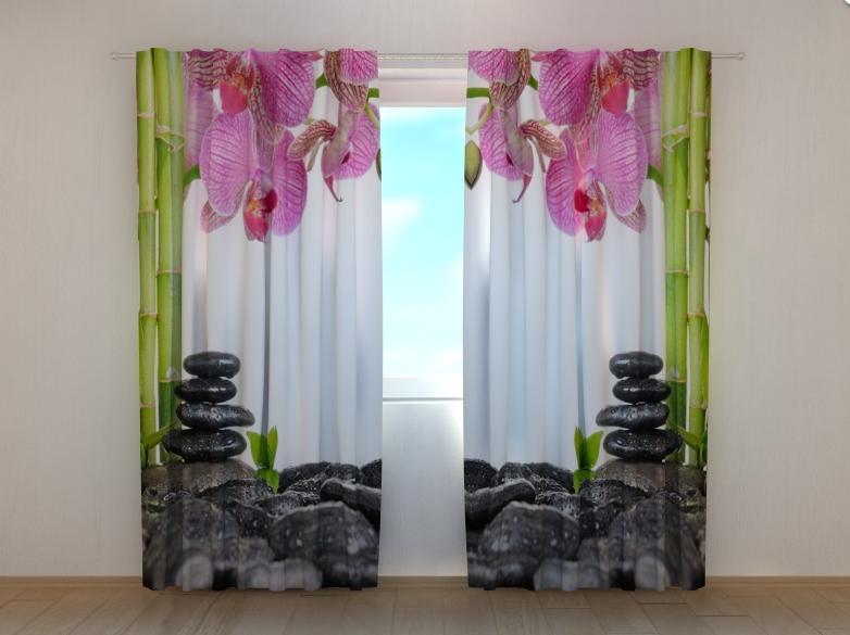 """Фото штори """"Орхідеї і бамбук"""" 250 х 260 см"""