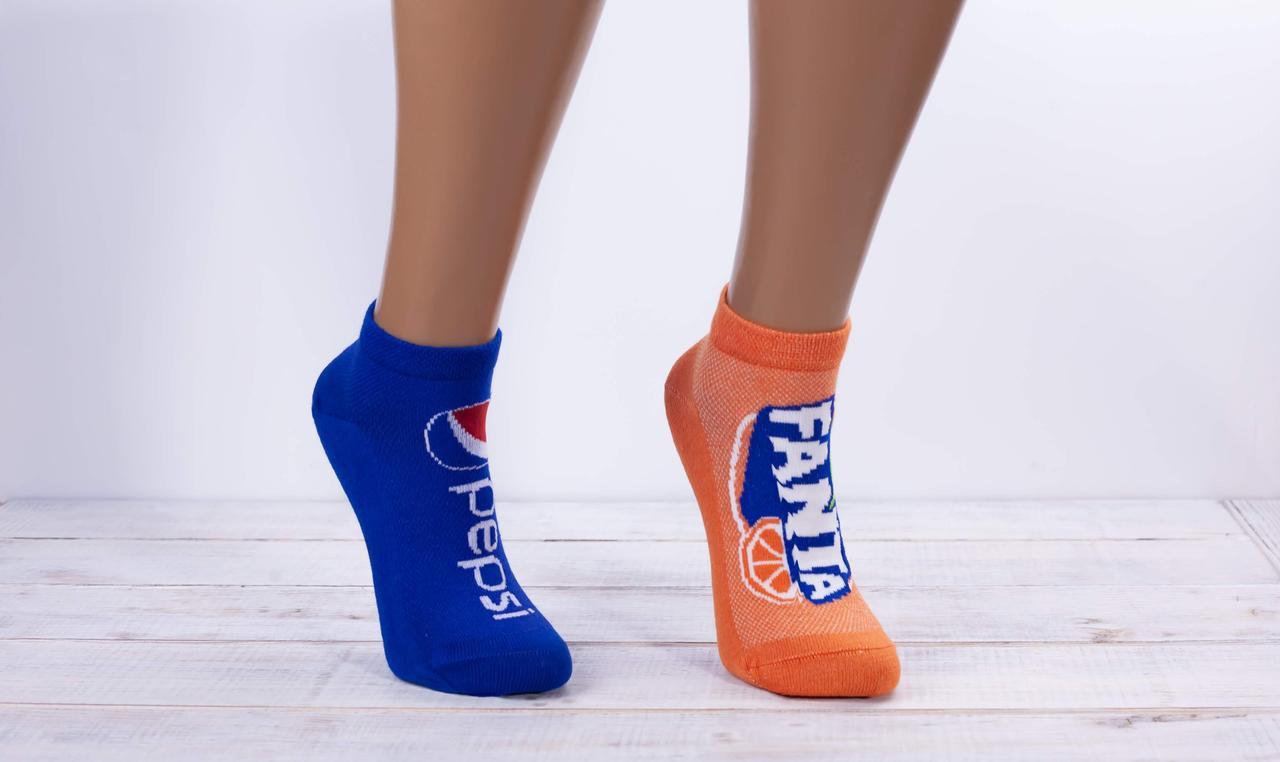 Жіночі носки шкарпетки стрейчеві Montebello пепсі фанта кока кола кокаін 35-40 12 шт в уп мікс 4 кольорів