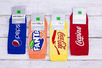 Жіночі шкарпетки Montebello, носки стрейчеві пепсі фанта кока кола,36-40 12 шт в уп. мікс 4 кольорів