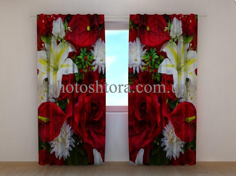 """Фото шторы """"Розы и лилии"""" 250 х 260 см"""