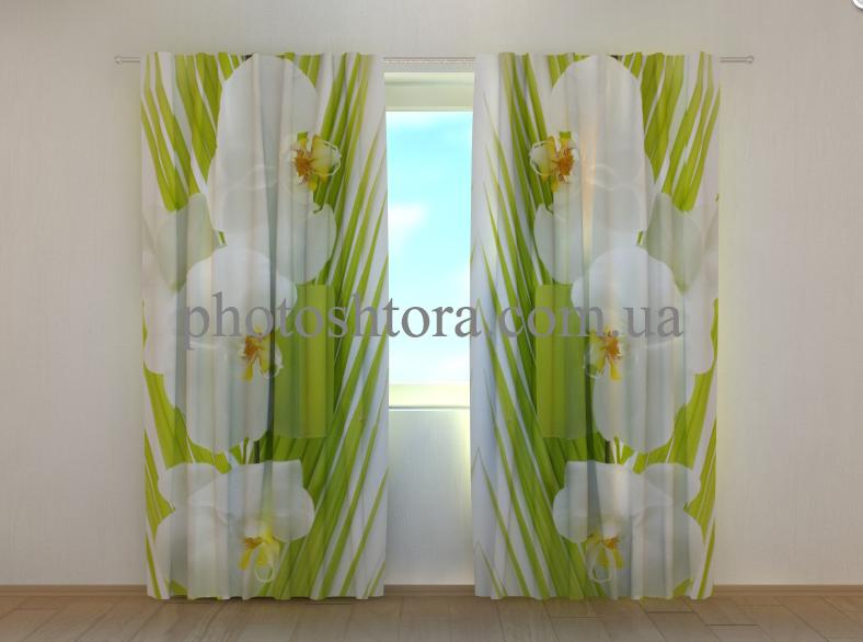 """Фото штори """"Пальмова гілочка і орхідеї"""" 250 х 260 см"""