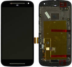 Дисплей Motorola Moto G2 XT1062, XT1063, XT1064, XT1068 с сенсором (тачскрином) и рамкой черный