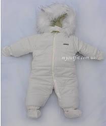 Зимний цельный комбинезон для новорожденных младенцев Молочный Размеры 62 68 74