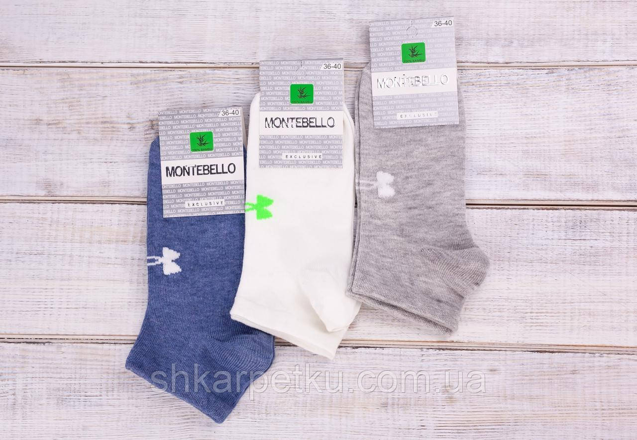 Шкарпетки жіночі з малюнком бантик шкарпетки стрейчеві Montebello 35-40 12 шт в уп мікс 4 кольорів
