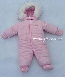 Зимний цельный комбинезон для новорожденных младенцев Розовый Размеры 62 68 74