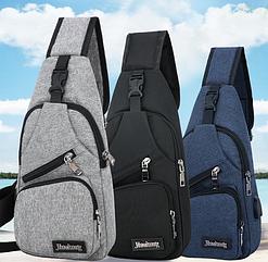 Нагрудная молодежная городская сумка-слинг / сумка через плечо с USB-выходом для подзарядки устройств на ходу