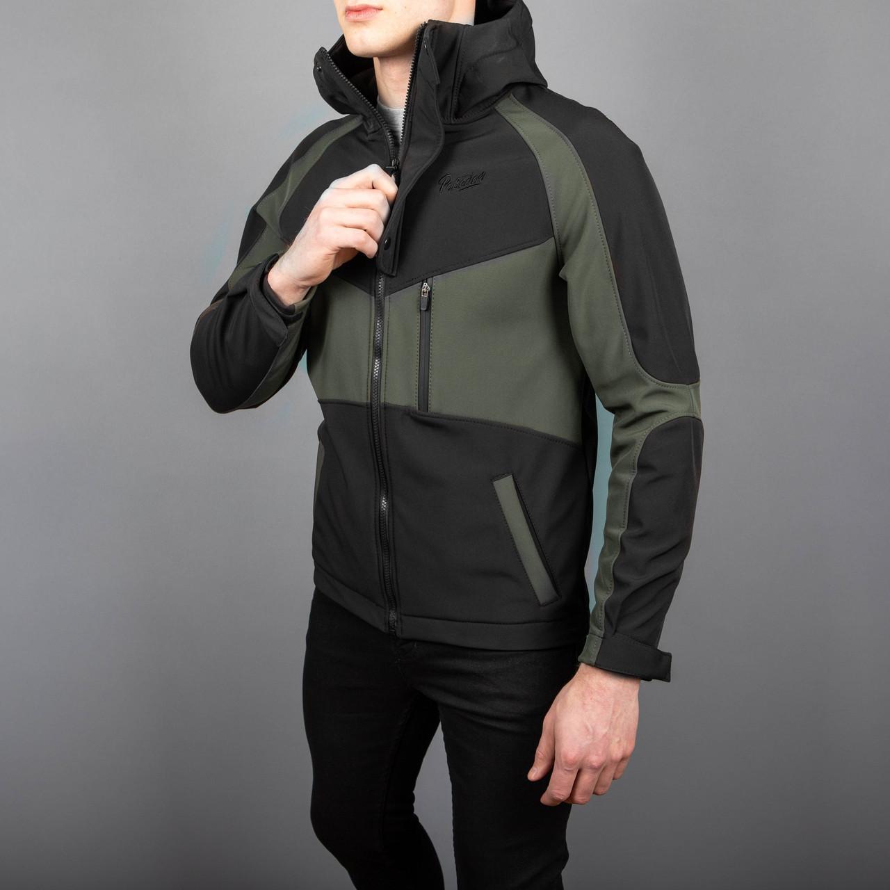 Мужская куртка Pobedov Khaki-Black Soft Shell (Софт Шелл)
