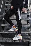Спортивные штаны черные  с белым лампасом и замками, фото 2