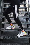 Спортивні штани чорні з білим лампасом і замками, фото 3
