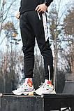 Спортивные штаны черные  с белым лампасом и замками, фото 5