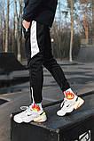 Спортивні штани чорні з білим лампасом і замками, фото 6