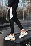 Спортивные штаны черные  с белым лампасом и замками, фото 6