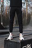 Спортивные штаны черные  с белым лампасом и замками, фото 7