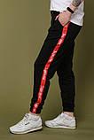 Штаны чёрные с красным лампасом Supreme, фото 2
