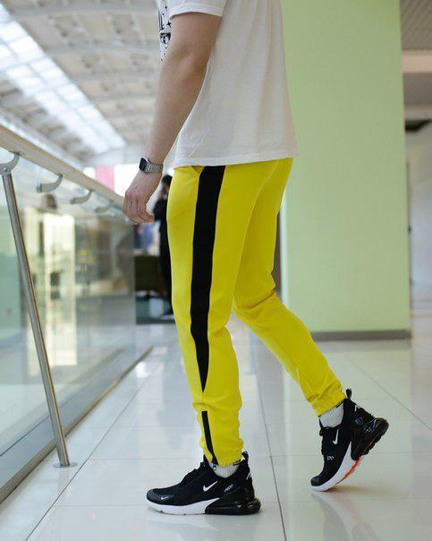 Мужские желтые спортивные штаны с лампасами, модель Рокки