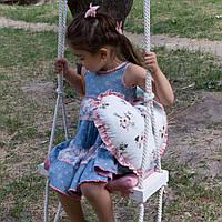 Маленькая деревянная подвесная качель 20*50см со сьемной сидушкой, качель для девочки качеля