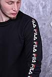 Світшот чорний з чорними смугами Fila, фото 2
