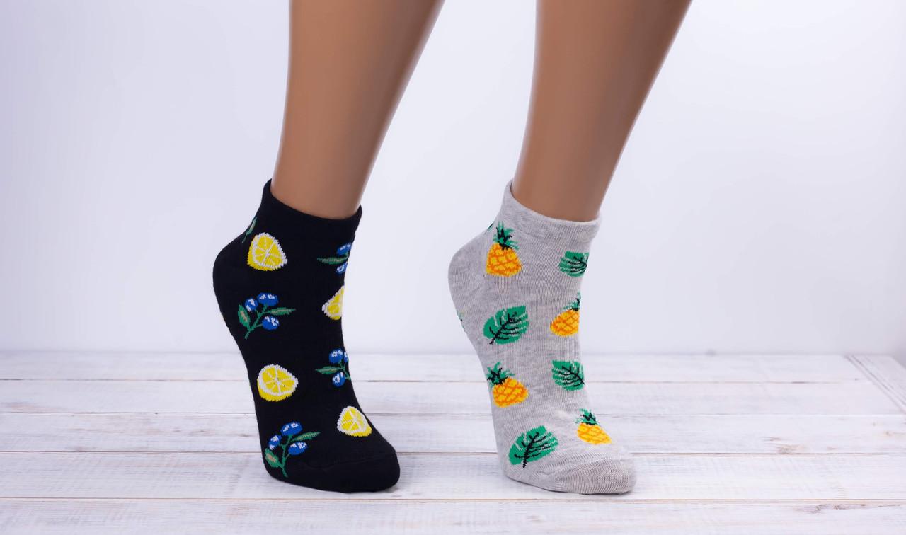 Жіночі носки з малюнком шкарпетки стрейчеві Montebello лимон ананас авокадо апельсин 35-40 12 шт в уп