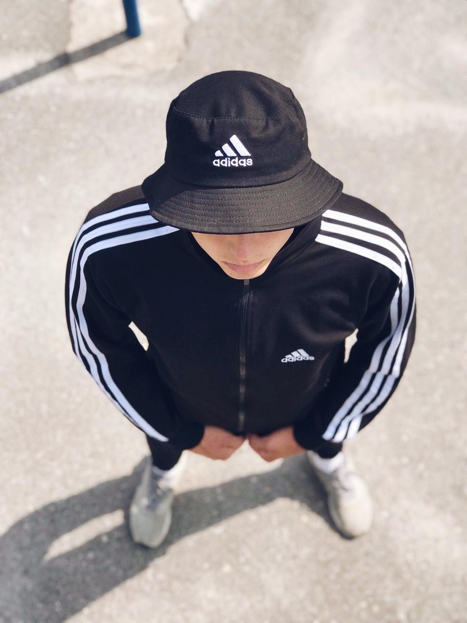 Олимпийка мужская в стиле Adidas Round черная!