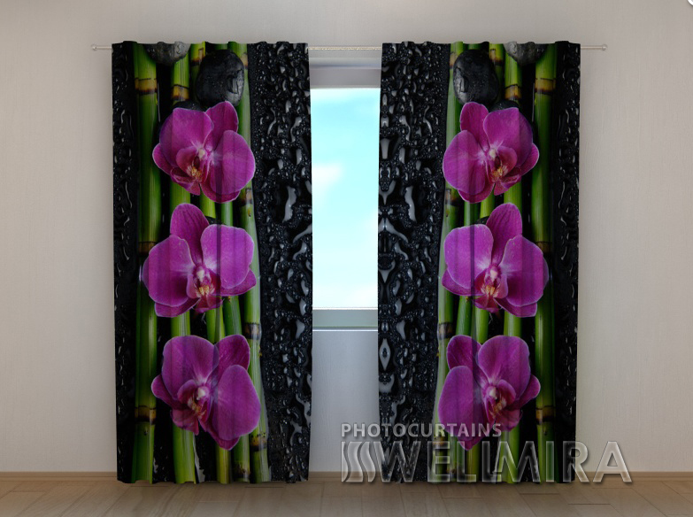 """Фото шторы """"Розкошные орхидеи"""" 250 х 260 см"""