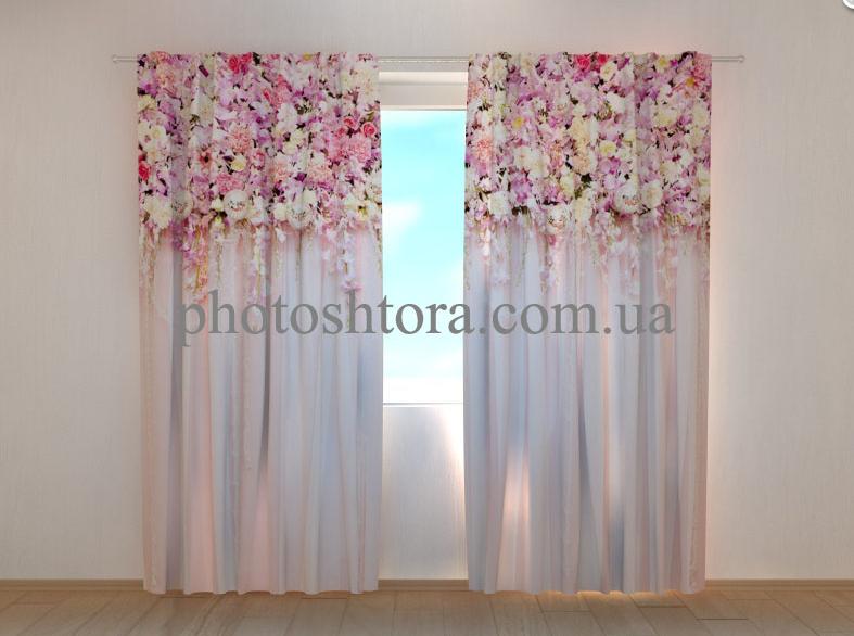 "Фото шторы ""Ламбрекены из цветов. Розовая Красота"" 250 х 260 см"