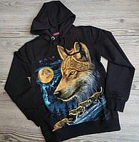 Черный свитер рисунок Волк для мальчика от 8 до 15 лет., фото 1