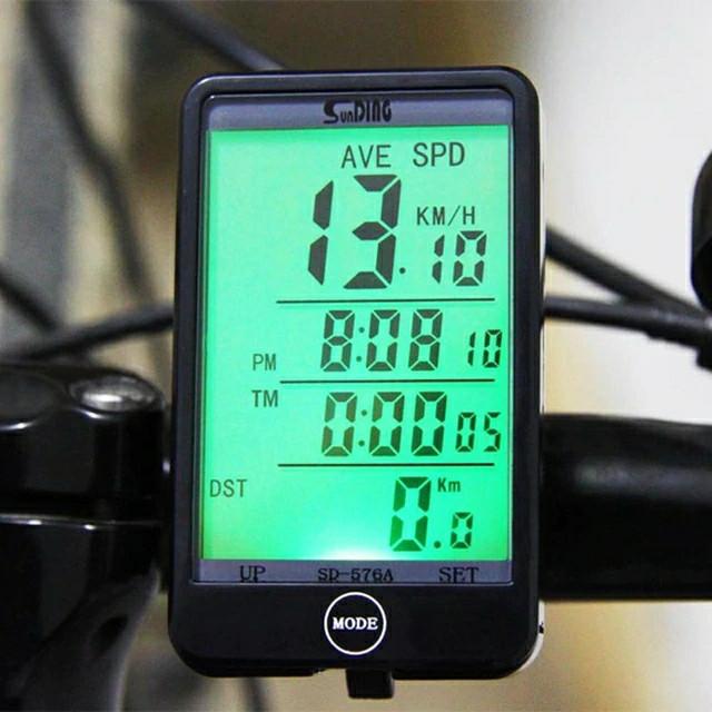 """Велокомп'ютер SunDing SD-576A провідний, екран 2.4"""" з підсвічуванням, виносна кнопка, датчик температури і світла"""