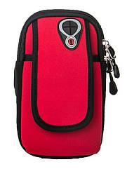 """Чохол-сумка неопренова для телефону (5.0"""" / 6.0"""") на руку / передпліччя (вело / біг / туризм / рибалка) МАКС (до 6.0""""), ЧЕРВОНИЙ"""
