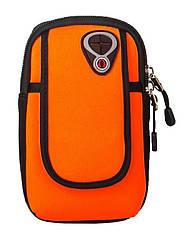 """Чохол-сумка неопренова для телефону (5.0"""" / 6.0"""") на руку / передпліччя (вело / біг / туризм / рибалка) МАКС (до 6.0""""), ПОМАРАНЧЕВИЙ"""