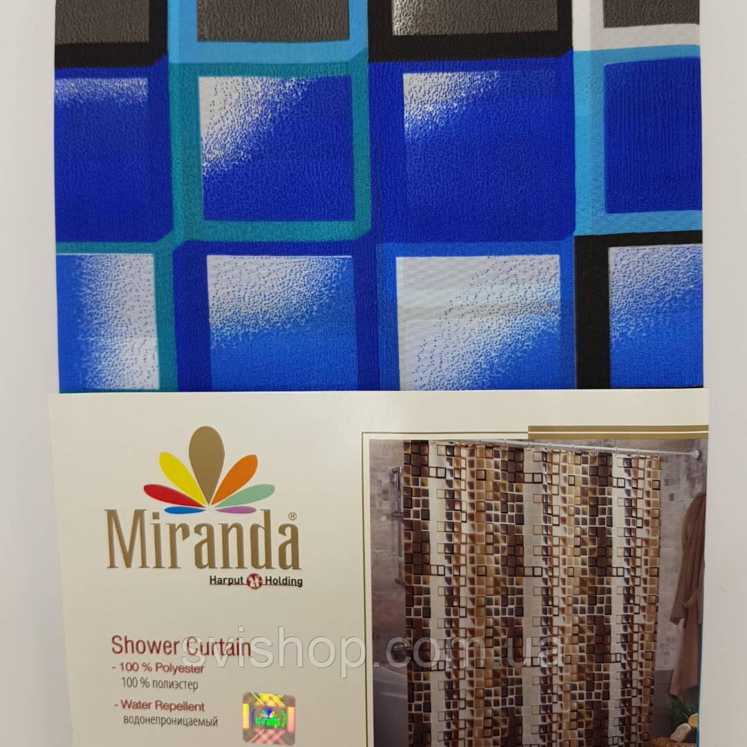 """Шторка для ванной """"Miranda"""" 180х200см.KARE (синее)"""