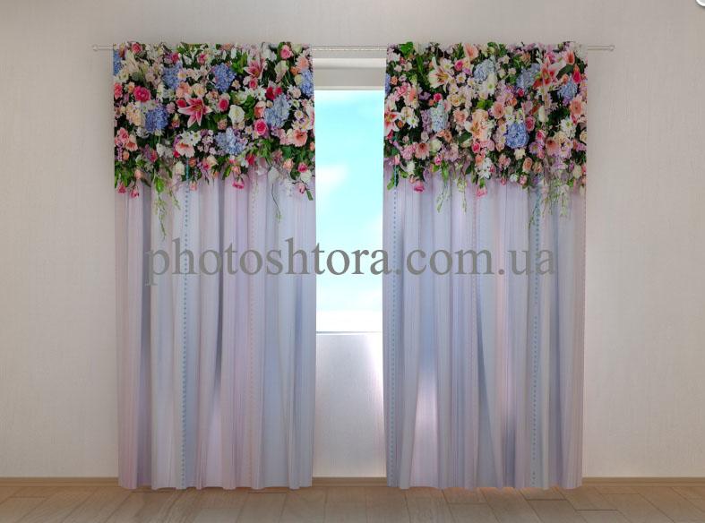 """Фото шторы """"Ламбрекены из цветов. Сказка"""" 250 х 260 см"""