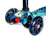 Самокат трехколесный детский Maxi светящиеся колеса принт Jurassic park, фото 2