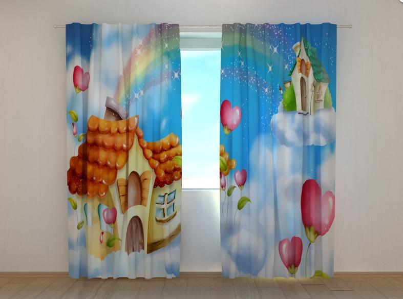 """Фото шторы """"Домик в облаках"""" 250 х 260 см"""