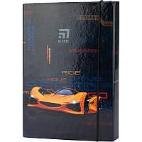 Папка для тетрадей B5, на резинках, картон, Kite, Fast Cars k20-210-02, KITE канцелярия