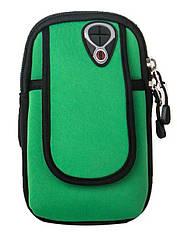 """Чохол-сумка неопренова для телефону (5.0"""" / 6.0"""") на руку / передпліччя (вело / біг / туризм / рибалка) МАКС (до 6.0""""), ЗЕЛЕНИЙ"""