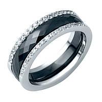 Серебряное кольцо GrayWhite с керамикой (1214503) 18 размер