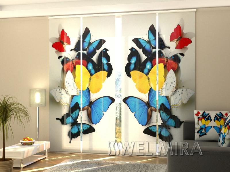 """Панельные Фото шторы """"Красочные бабочки"""" 240 х 240 см"""