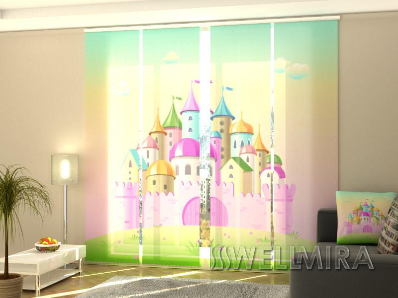 """Панельные Фото шторы """"Розовый замок"""" 240 х 240 см"""