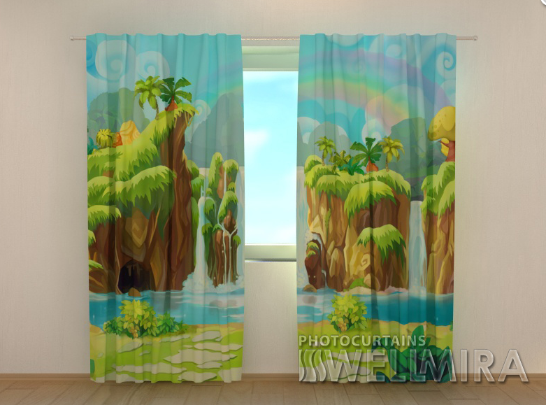 "Фото шторы ""Водопад и радуга"" 250 х 260 см"