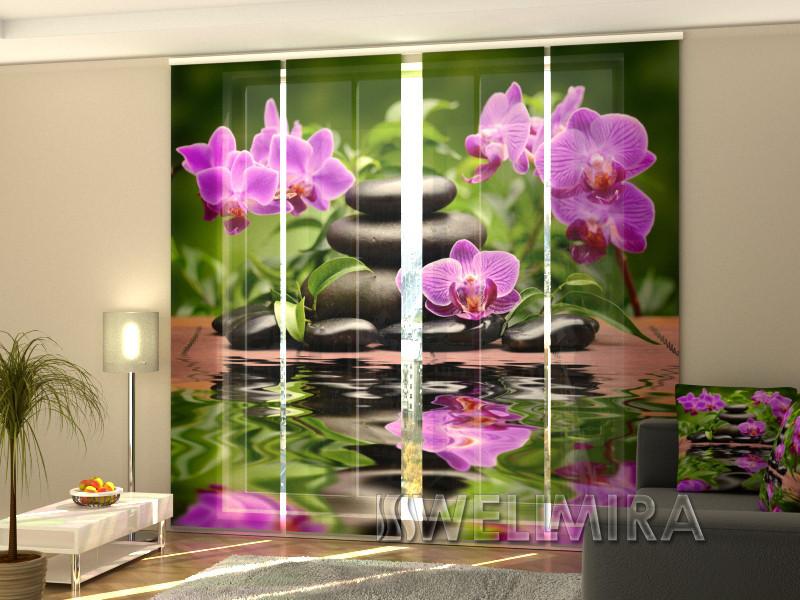 """Панельные Фото шторы """"Орхидеи в саду"""" 240 х 240 см"""