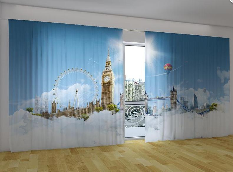 """Панорамные Фото шторы """"Лондон небеса"""" 270 х 500 см"""