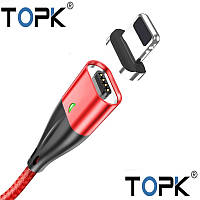 Магнитный кабель зарядки и синхронизации TOPK AM61 18W LED 3A IPHONE Красный, фото 1