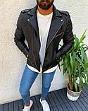 Мужская кожаная куртка косуха Black, S, фото 3